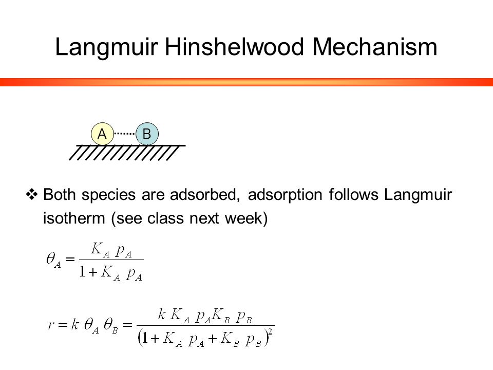 Langmuir Hinshelwood Mechanism  Both species are adsorbed, adsorption follows Langmuir isotherm (see class next week) A B