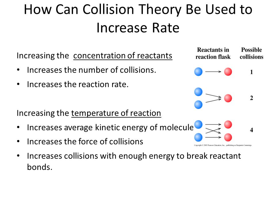 How Can Collision Theory Be Used to Increase Rate Increasing the concentration of reactants Increases the number of collisions.
