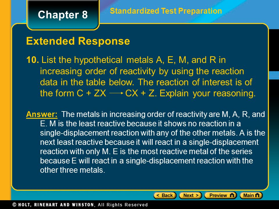 Answer: The metals in increasing order of reactivity are M, A, R, and E. M is the least reactive because it shows no reaction in a single-displacement