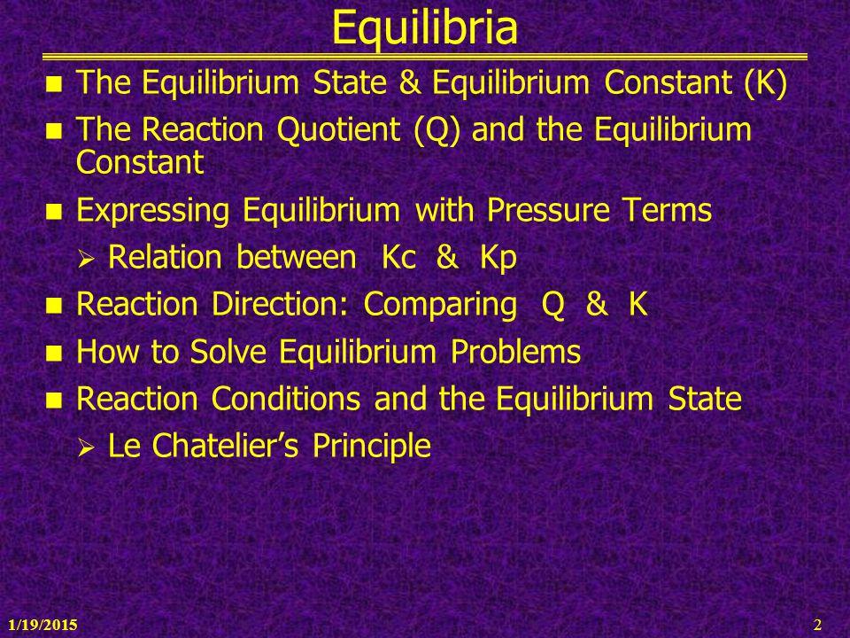 1/19/20152 Equilibria The Equilibrium State & Equilibrium Constant (K) The Reaction Quotient (Q) and the Equilibrium Constant Expressing Equilibrium w