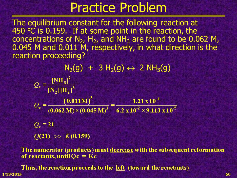 1/19/201560 Practice Problem The equilibrium constant for the following reaction at 450 o C is 0.159. If at some point in the reaction, the concentrat