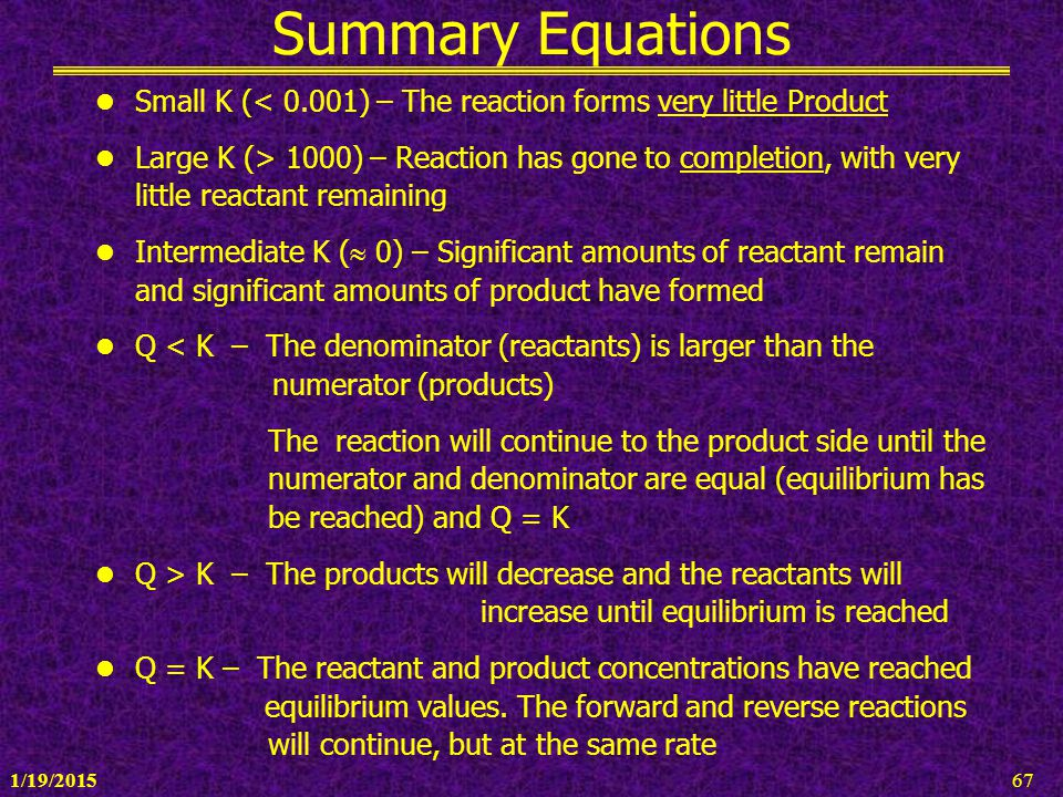 1/19/201567 Summary Equations Small K (< 0.001) – The reaction forms very little Product Large K (> 1000) – Reaction has gone to completion, with very
