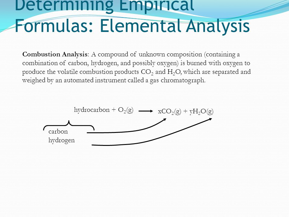 Determining Empirical Formulas: Elemental Analysis Combustion Analysis: A compound of unknown composition (containing a combination of carbon, hydroge