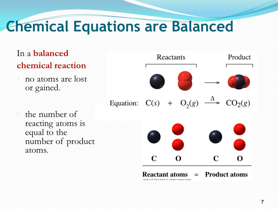 Balancing Chemical Equations A balanced chemical equation shows that the law of conservation of mass is adhered to.