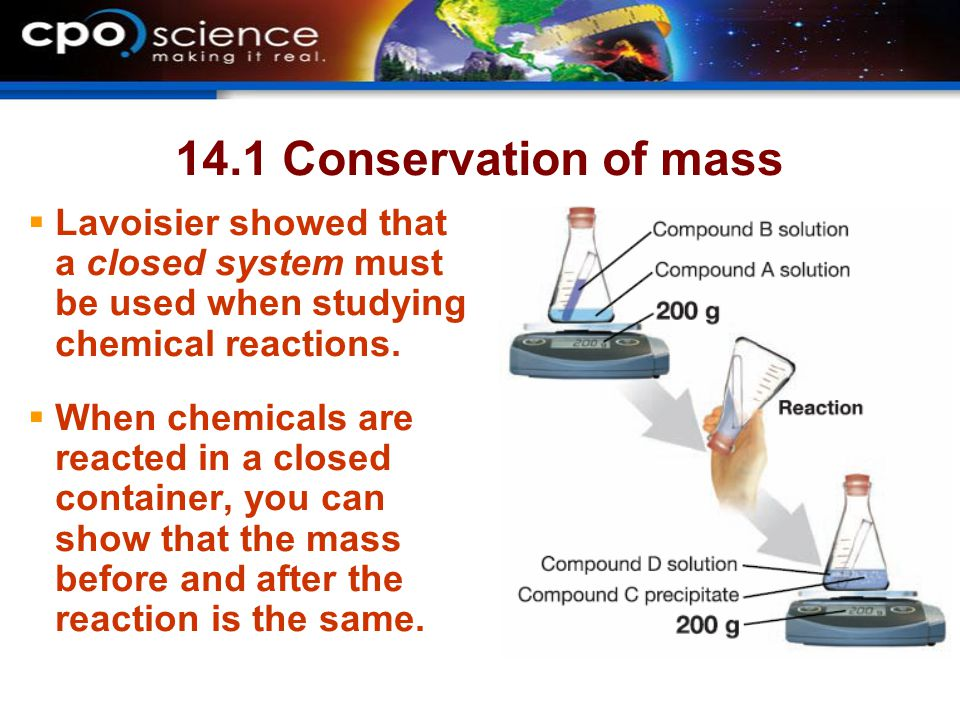 14.1 Conservation of mass  Lavoisier showed that a closed system must be used when studying chemical reactions.  When chemicals are reacted in a clo