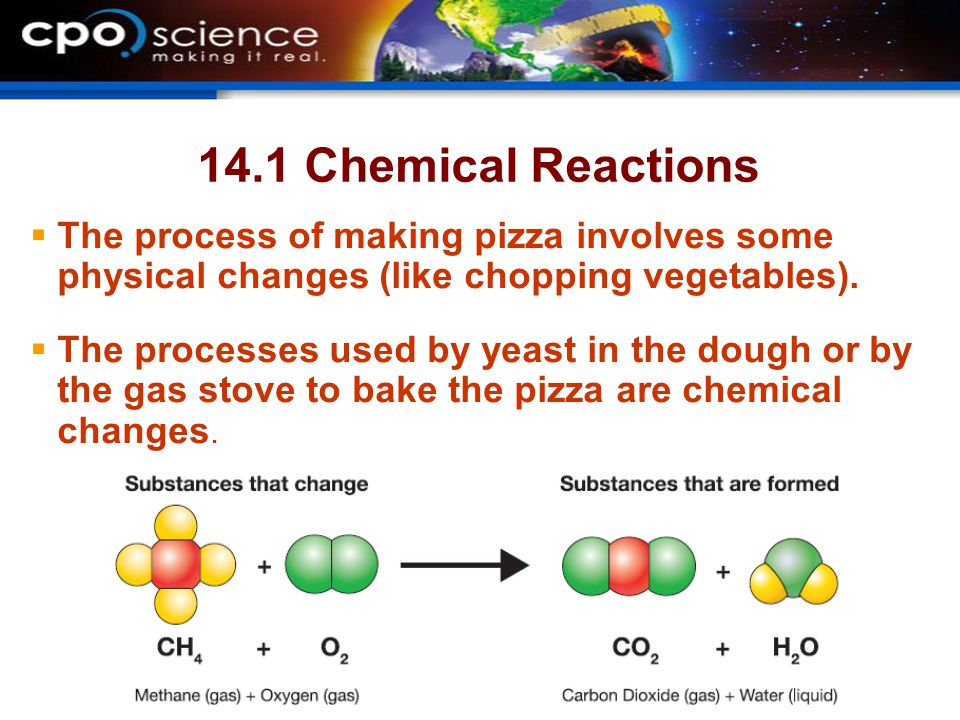 14.1 Chemical Reactions  The process of making pizza involves some physical changes (like chopping vegetables).  The processes used by yeast in the