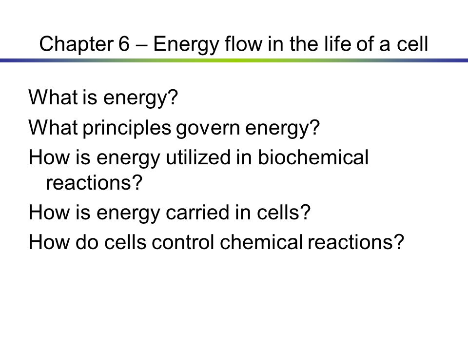 Chapter 6 – Energy flow in the life of a cell What is energy? What principles govern energy? How is energy utilized in biochemical reactions? How is e