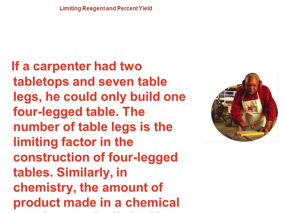 Limiting Reagent and Percent Yield If a carpenter had two tabletops and seven table legs, he could only build one four-legged table. The number of tab