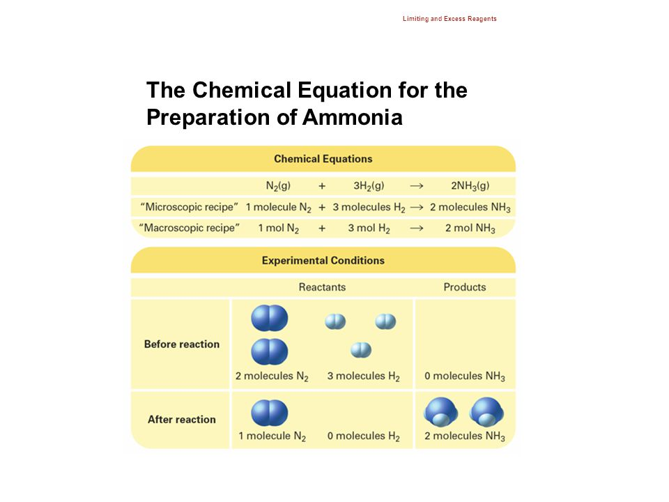 Limiting and Excess Reagents 12.3 The Chemical Equation for the Preparation of Ammonia