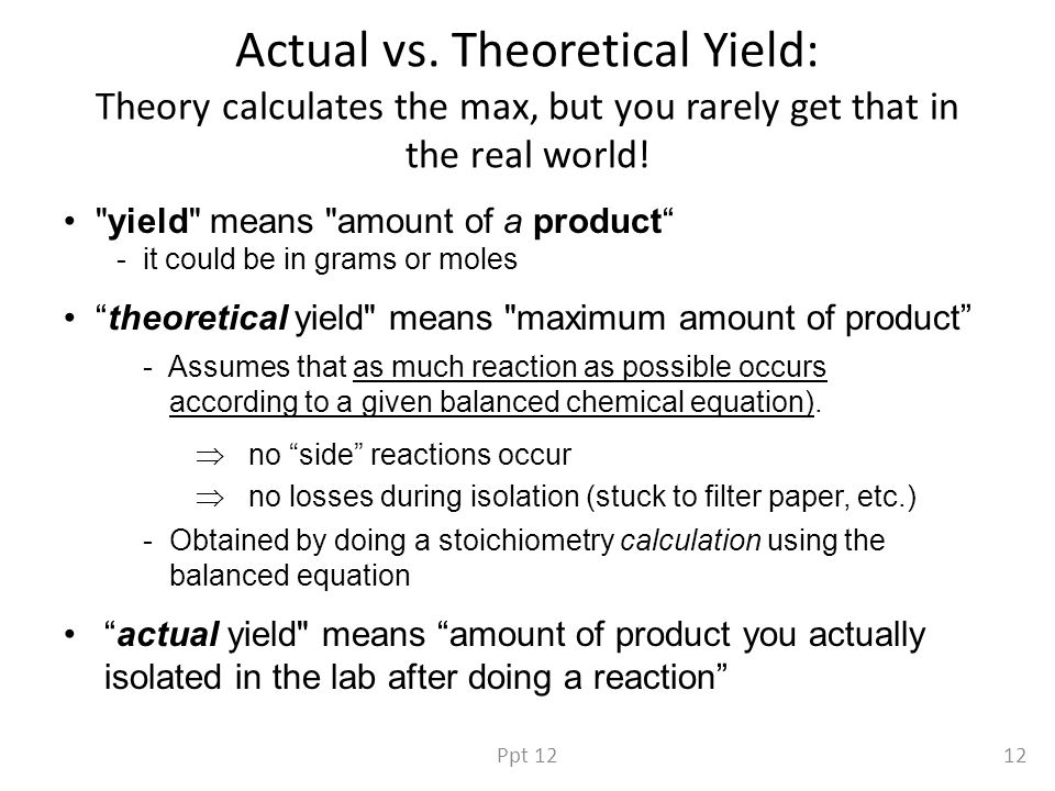 Actual vs. Theoretical Yield: Theory calculates the max, but you rarely get that in the real world.