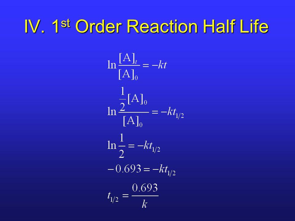 IV. 1 st Order Reaction Half Life