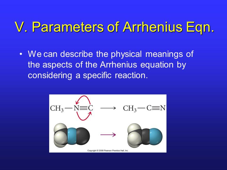 V. Parameters of Arrhenius Eqn.