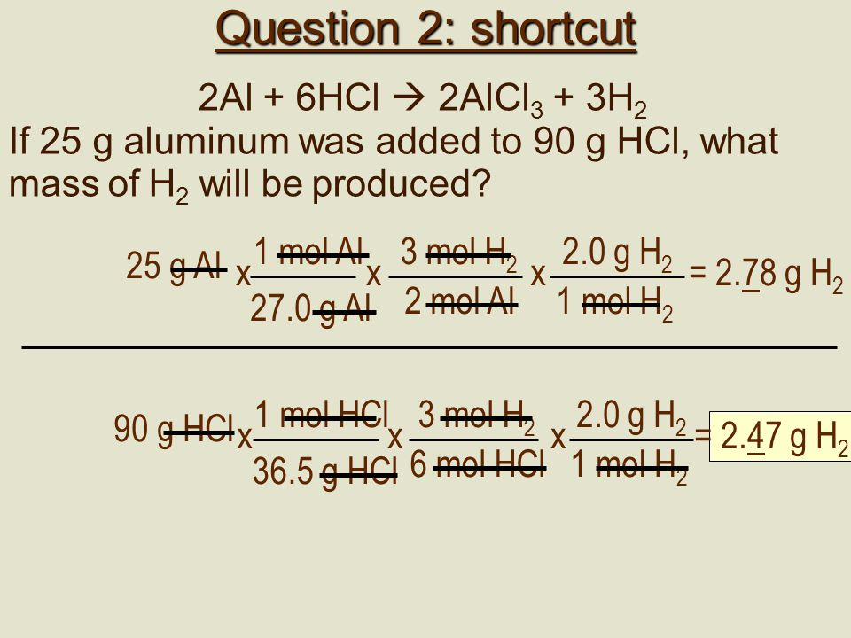 Question 2: shortcut 2Al + 6HCl  2AlCl 3 + 3H 2 If 25 g aluminum was added to 90 g HCl, what mass of H 2 will be produced? 3 mol H 2 2 mol Al x 25 g