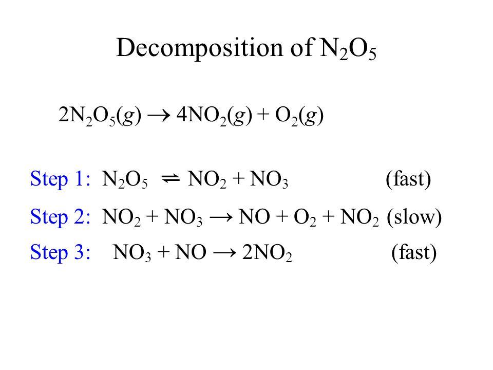 2N 2 O 5 (g)  4NO 2 (g) + O 2 (g) Step 1: N 2 O 5 ⇌ NO 2 + NO 3 (fast) Step 2: NO 2 + NO 3 → NO + O 2 + NO 2 (slow) Step 3: NO 3 + NO → 2NO 2 (fast)