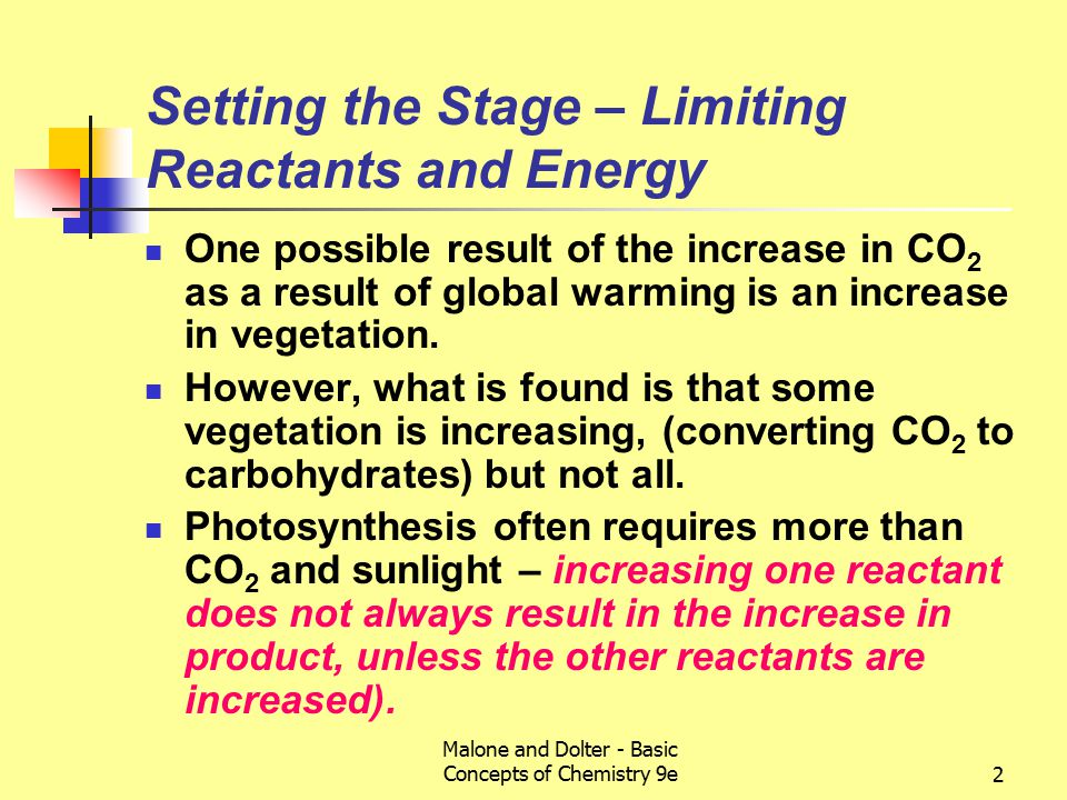 Malone and Dolter - Basic Concepts of Chemistry 9e2 Setting the Stage – Limiting Reactants and Energy One possible result of the increase in CO 2 as a result of global warming is an increase in vegetation.