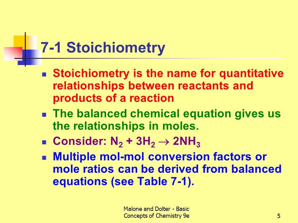 Malone and Dolter - Basic Concepts of Chemistry 9e5 7-1 Stoichiometry Stoichiometry is the name for quantitative relationships between reactants and products of a reaction The balanced chemical equation gives us the relationships in moles.