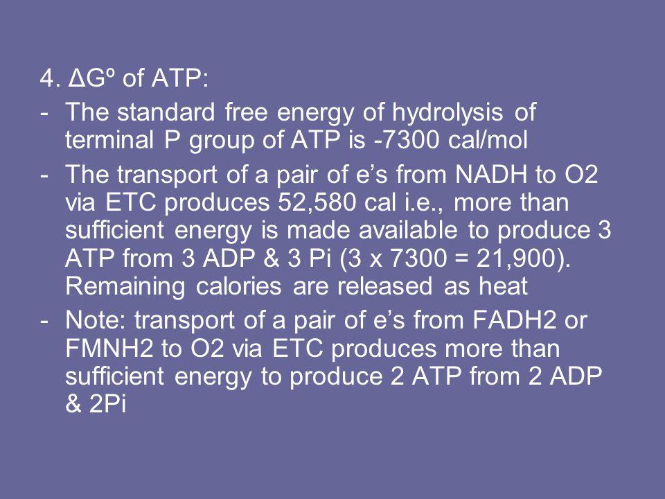 4. ΔGº of ATP: -The standard free energy of hydrolysis of terminal P group of ATP is -7300 cal/mol -The transport of a pair of e's from NADH to O2 via