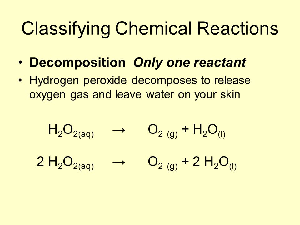 Classifying Chemical Reactions Decomposition Only one reactant Hydrogen peroxide decomposes to release oxygen gas and leave water on your skin H 2 O 2