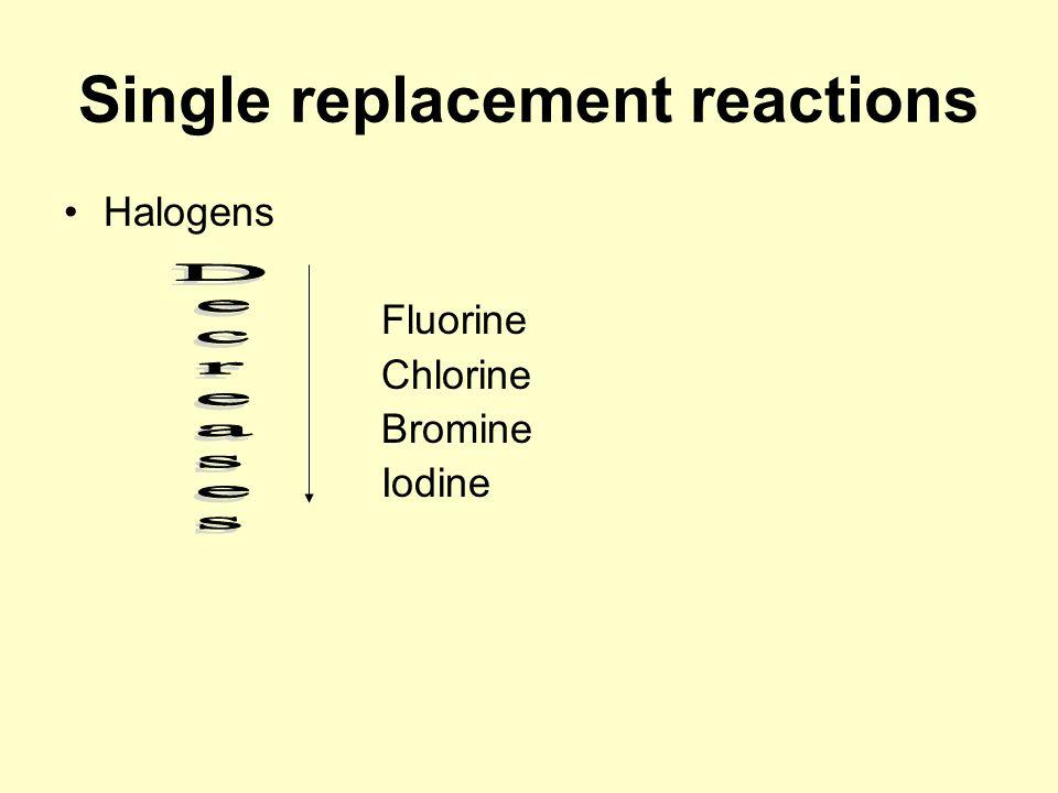 Single replacement reactions Halogens Fluorine Chlorine Bromine Iodine