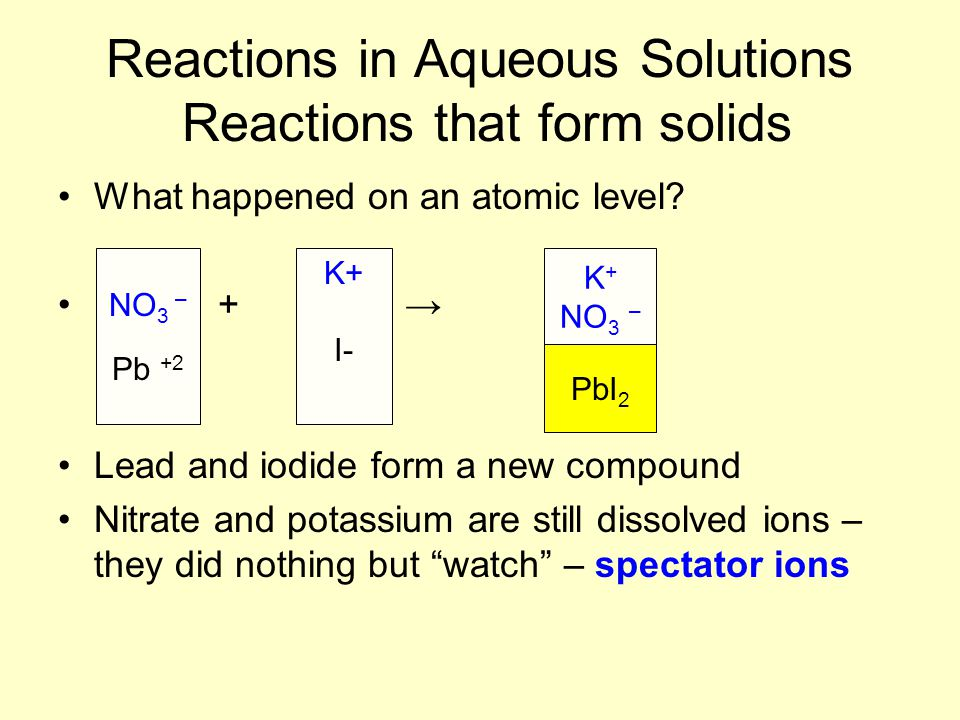 Reactions in Aqueous Solutions Reactions that form solids What happened on an atomic level? + → Lead and iodide form a new compound Nitrate and potass