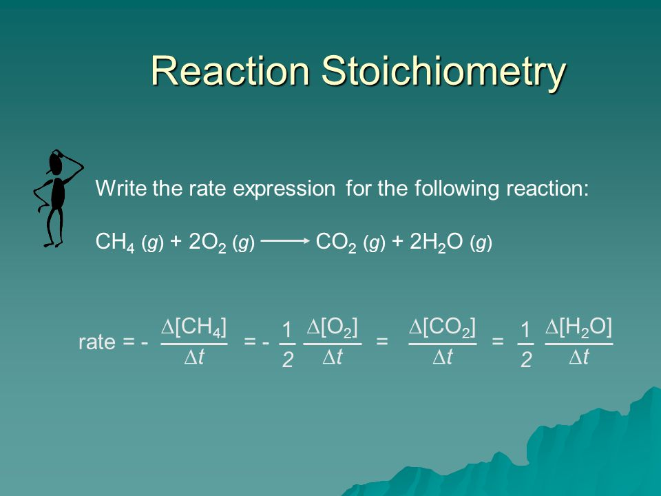 Reaction Stoichiometry Write the rate expression for the following reaction: CH 4 (g) + 2O 2 (g) CO 2 (g) + 2H 2 O (g) rate = -  [CH 4 ] tt = -  [