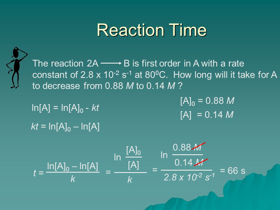 Reaction Time The reaction 2A B is first order in A with a rate constant of 2.8 x 10 -2 s -1 at 80 0 C. How long will it take for A to decrease from 0