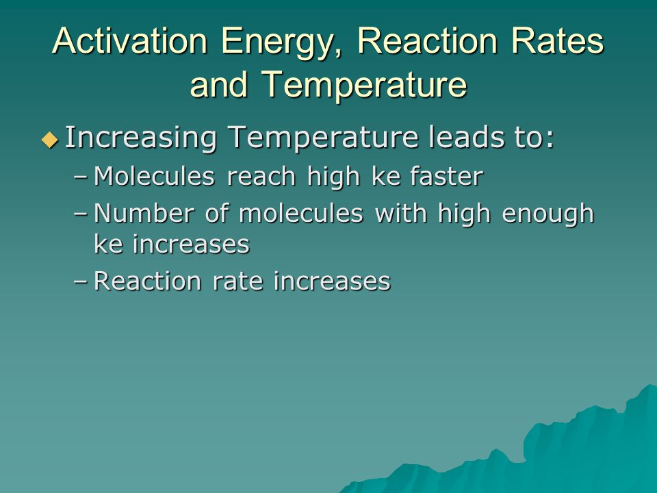 Activation Energy, Reaction Rates and Temperature  Increasing Temperature leads to: –Molecules reach high ke faster –Number of molecules with high enough ke increases –Reaction rate increases