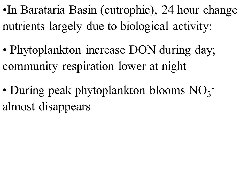 In Barataria Basin (eutrophic), 24 hour change nutrients largely due to biological activity: Phytoplankton increase DON during day; community respiration lower at night During peak phytoplankton blooms NO 3 - almost disappears
