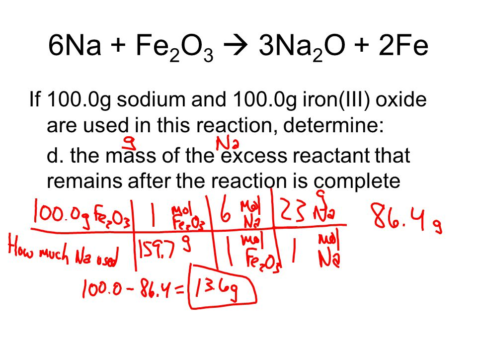 6Na + Fe 2 O 3  3Na 2 O + 2Fe If 100.0g sodium and 100.0g iron(III) oxide are used in this reaction, determine: d. the mass of the excess reactant th