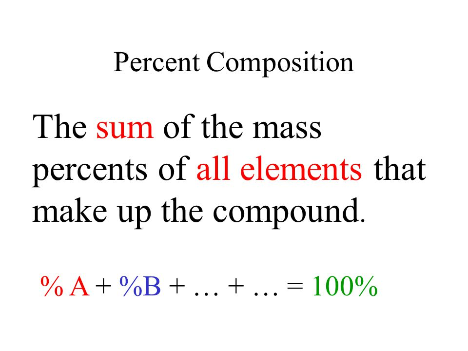 Percent Composition The sum of the mass percents of all elements that make up the compound.