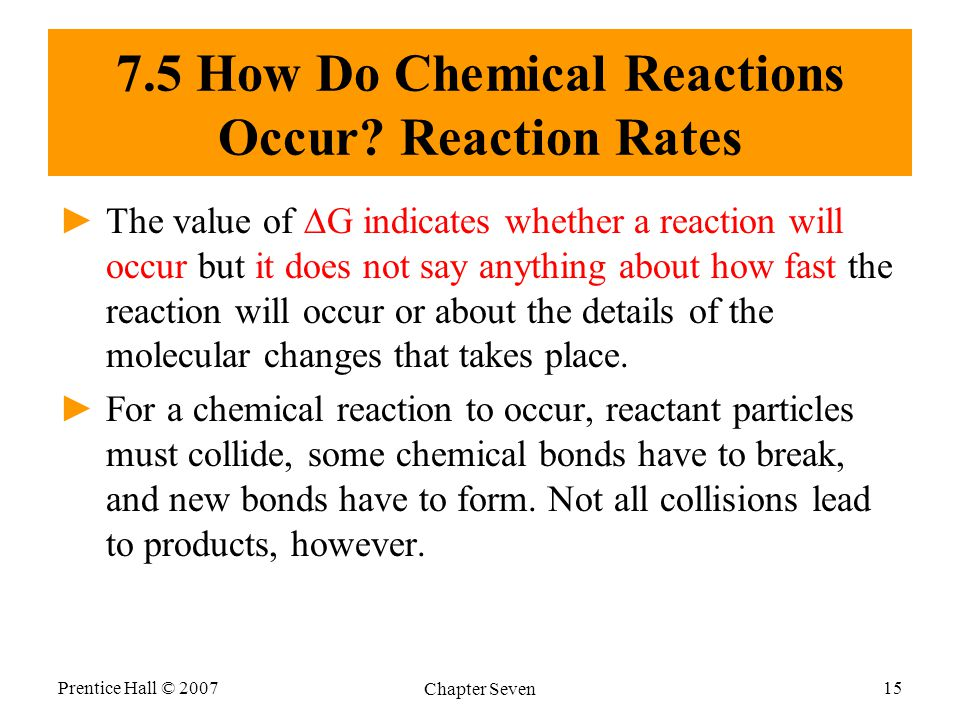 Prentice Hall © 2007 Chapter Seven 15 7.5 How Do Chemical Reactions Occur.