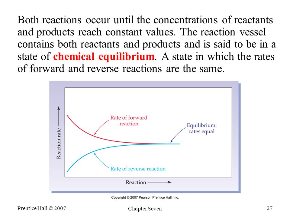 Prentice Hall © 2007 Chapter Seven 27 Both reactions occur until the concentrations of reactants and products reach constant values.