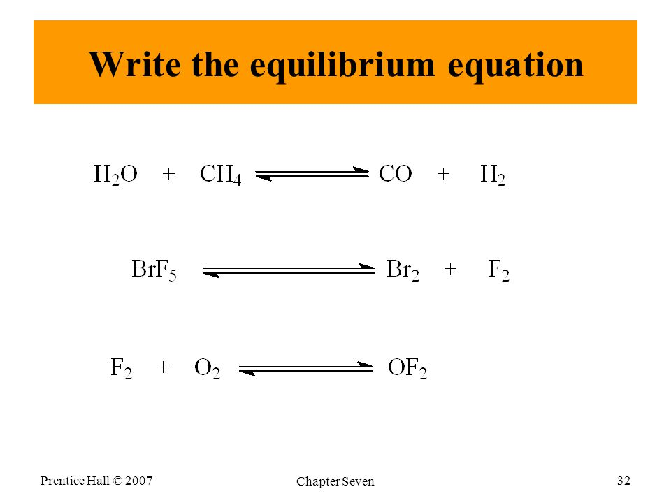 Write the equilibrium equation Prentice Hall © 2007 Chapter Seven 32