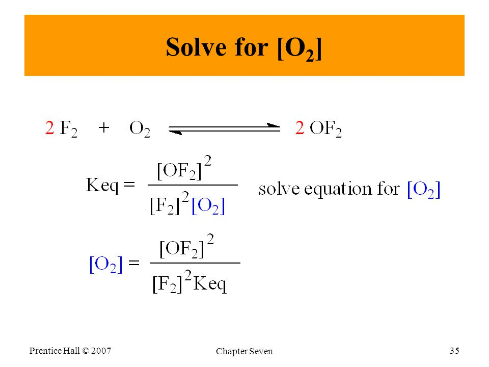 Solve for [O 2 ] Prentice Hall © 2007 Chapter Seven 35