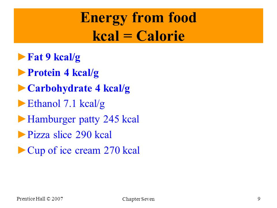Energy from food kcal = Calorie ►Fat 9 kcal/g ►Protein 4 kcal/g ►Carbohydrate 4 kcal/g ►Ethanol 7.1 kcal/g ►Hamburger patty 245 kcal ►Pizza slice 290 kcal ►Cup of ice cream 270 kcal Prentice Hall © 2007 Chapter Seven 9