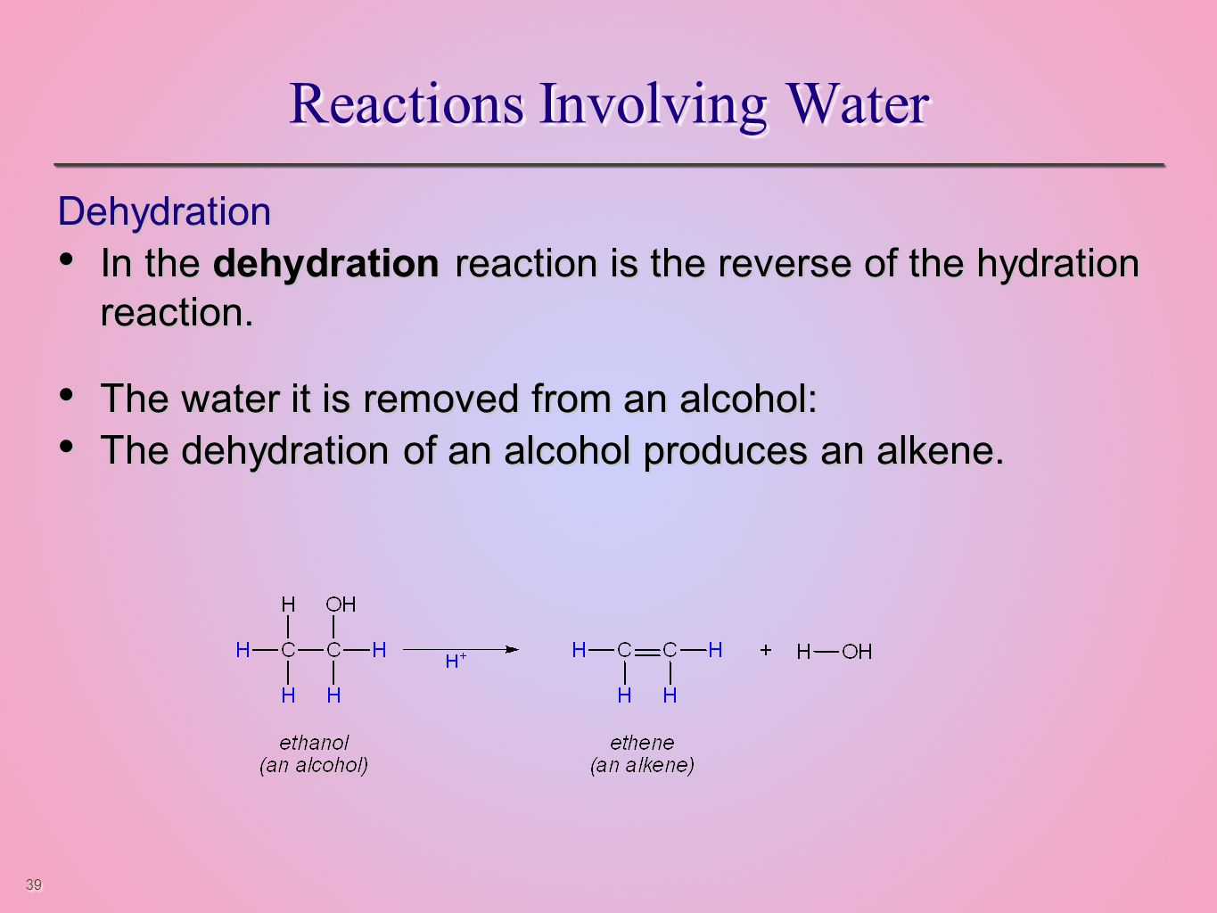 39 Reactions Involving Water Dehydration In the dehydration reaction is the reverse of the hydration reaction.