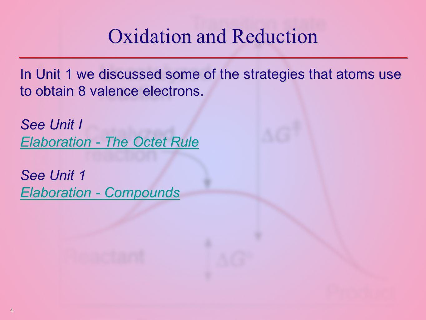 4 Oxidation and Reduction In Unit 1 we discussed some of the strategies that atoms use to obtain 8 valence electrons.