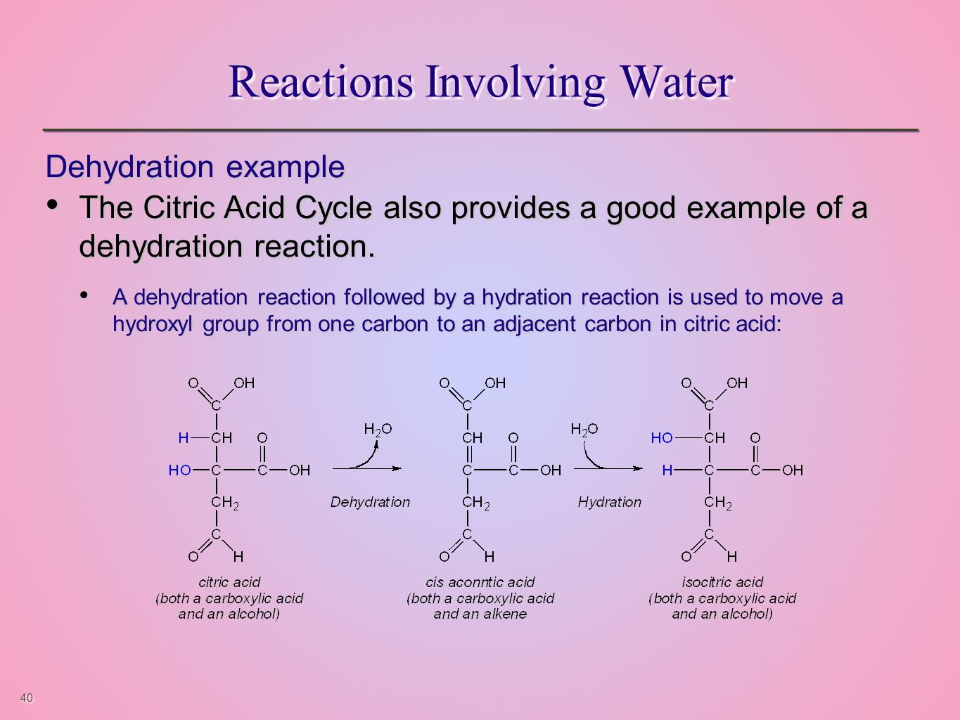 40 Reactions Involving Water Dehydration example The Citric Acid Cycle also provides a good example of a dehydration reaction.