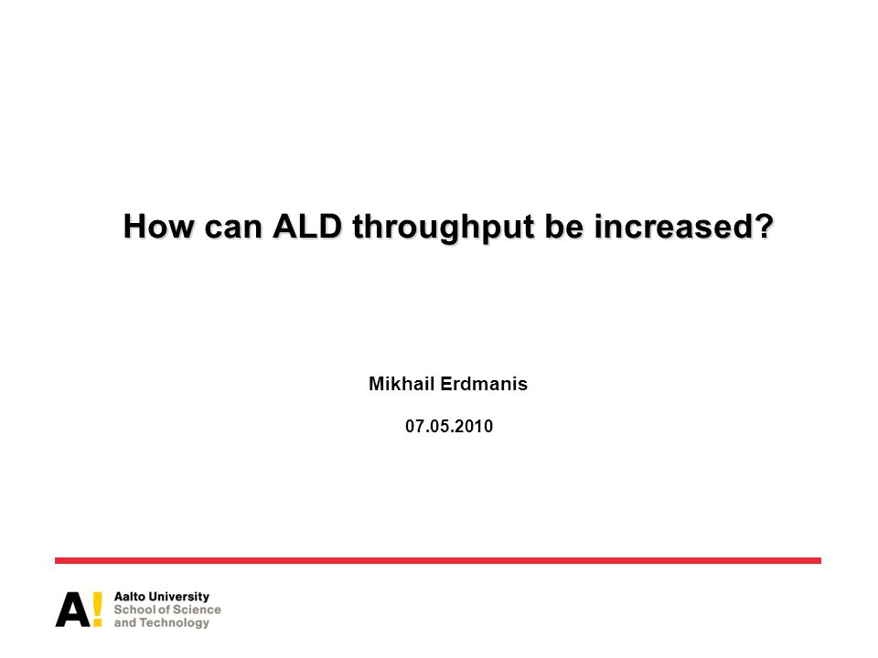 How can ALD throughput be increased. How can ALD throughput be increased.