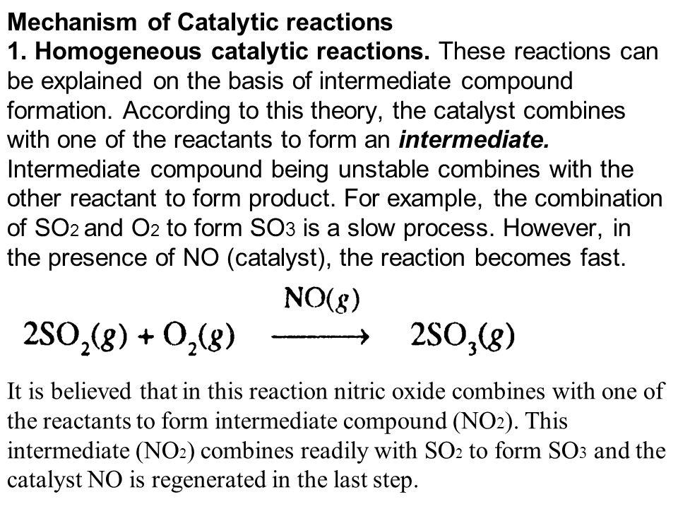 Mechanism of Catalytic reactions 1. Homogeneous catalytic reactions.