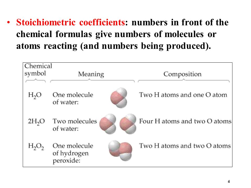 4 Stoichiometric coefficients: numbers in front of the chemical formulas give numbers of molecules or atoms reacting (and numbers being produced).
