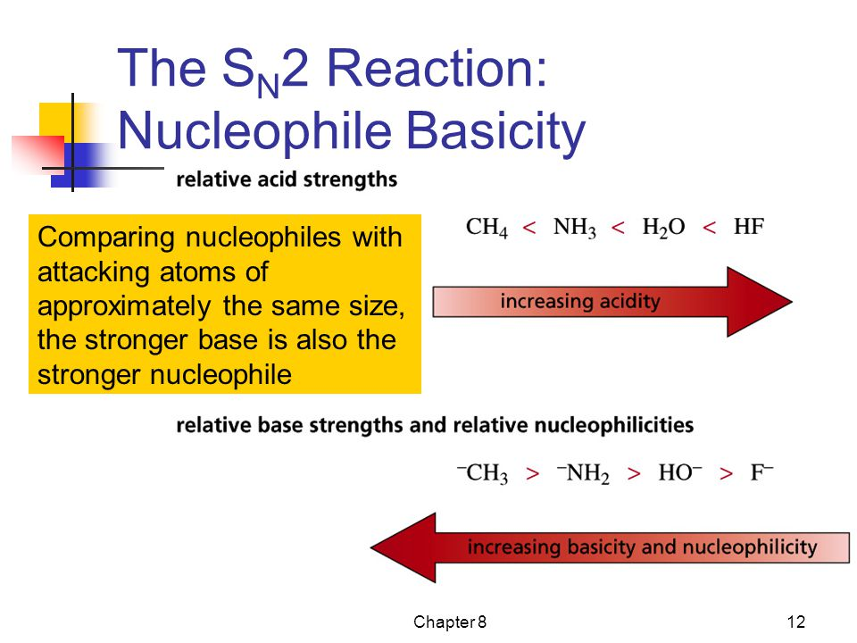 Chapter 812 The S N 2 Reaction: Nucleophile Basicity Comparing nucleophiles with attacking atoms of approximately the same size, the stronger base is