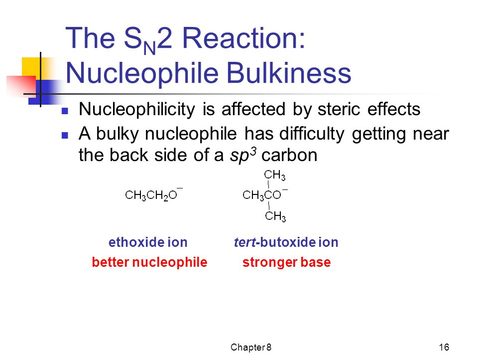 Chapter 816 The S N 2 Reaction: Nucleophile Bulkiness Nucleophilicity is affected by steric effects A bulky nucleophile has difficulty getting near th
