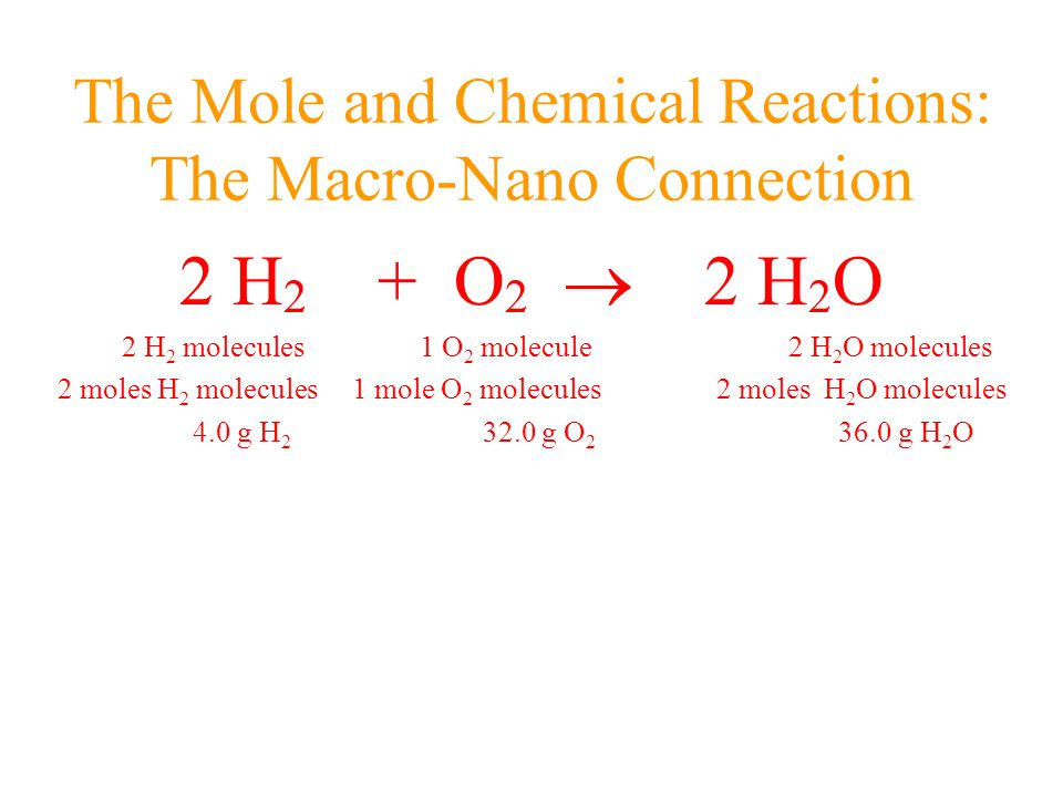 The Mole and Chemical Reactions: The Macro-Nano Connection 2 H 2 + O 2  2 H 2 O 2 H 2 molecules 1 O 2 molecule 2 H 2 O molecules 2 moles H 2 molecules 1 mole O 2 molecules 2 moles H 2 O molecules 4.0 g H 2 32.0 g O 2 36.0 g H 2 O