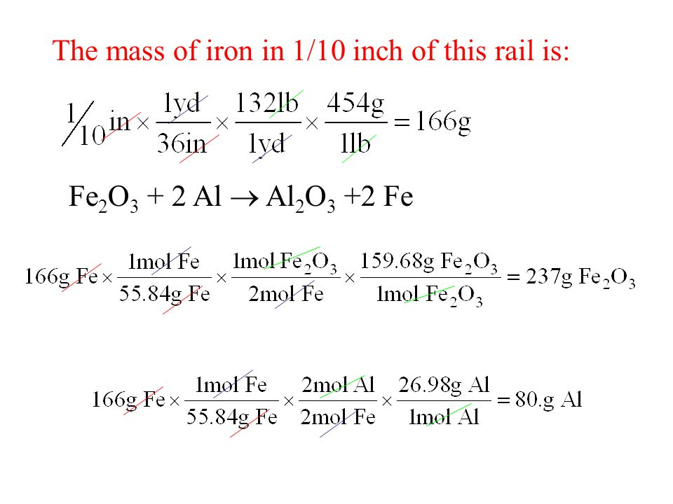 The mass of iron in 1/10 inch of this rail is: Fe 2 O 3 + 2 Al  Al 2 O 3 +2 Fe