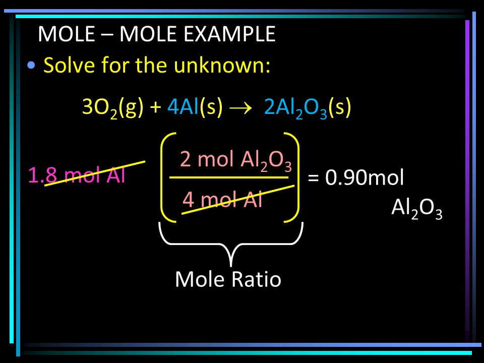 Solve for the unknown: 1.8 mol Al 4 mol Al 2 mol Al 2 O 3 = 0.90mol Al 2 O 3 MOLE – MOLE EXAMPLE 3O 2 (g) + 4Al(s)  2Al 2 O 3 (s) Mole Ratio
