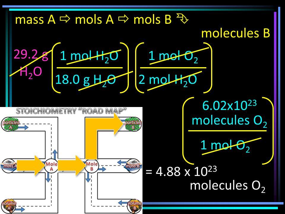 mass A  mols A  mols B  molecules B 29.2 g H 2 O 18.0 g H 2 O 1 mol H 2 O 2 mol H 2 O 1 mol O 2 6.02x10 23 molecules O 2 = 4.88 x 10 23 molecules O 2