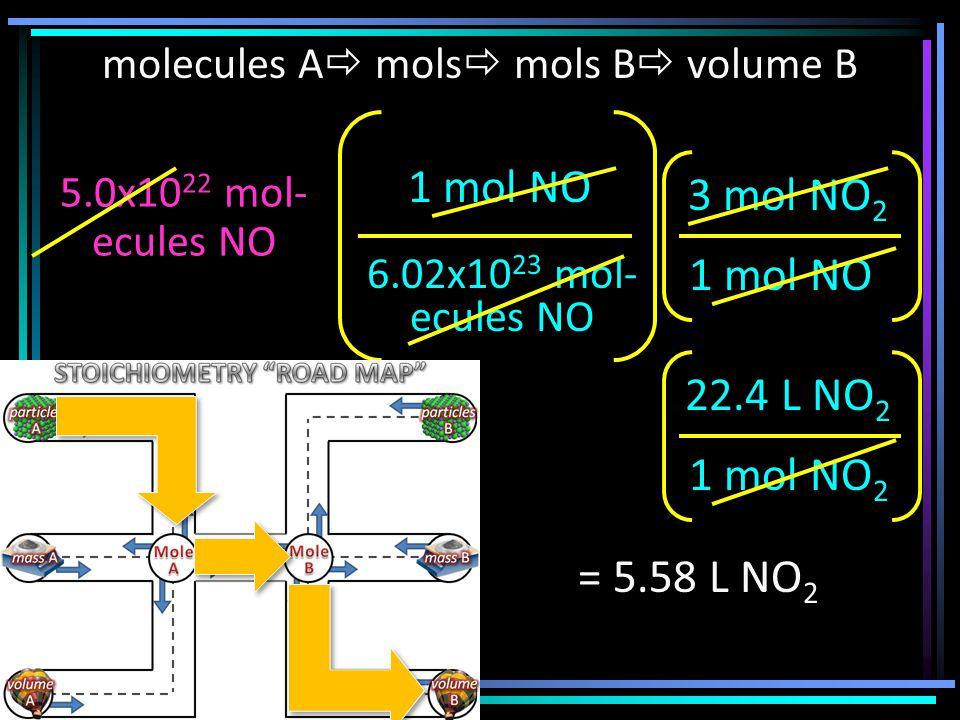 molecules A  mols  mols B  volume B 5.0x10 22 mol- ecules NO 6.02x10 23 mol- ecules NO 1 mol NO 3 mol NO 2 = 5.58 L NO 2 1 mol NO 2 22.4 L NO 2
