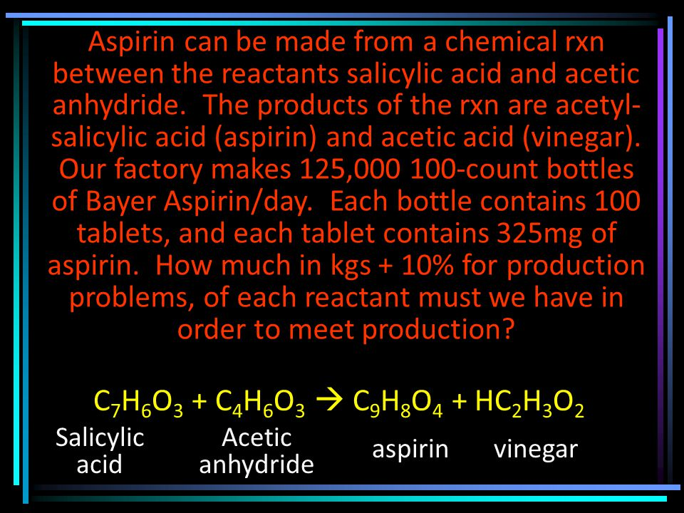 Aspirin can be made from a chemical rxn between the reactants salicylic acid and acetic anhydride.