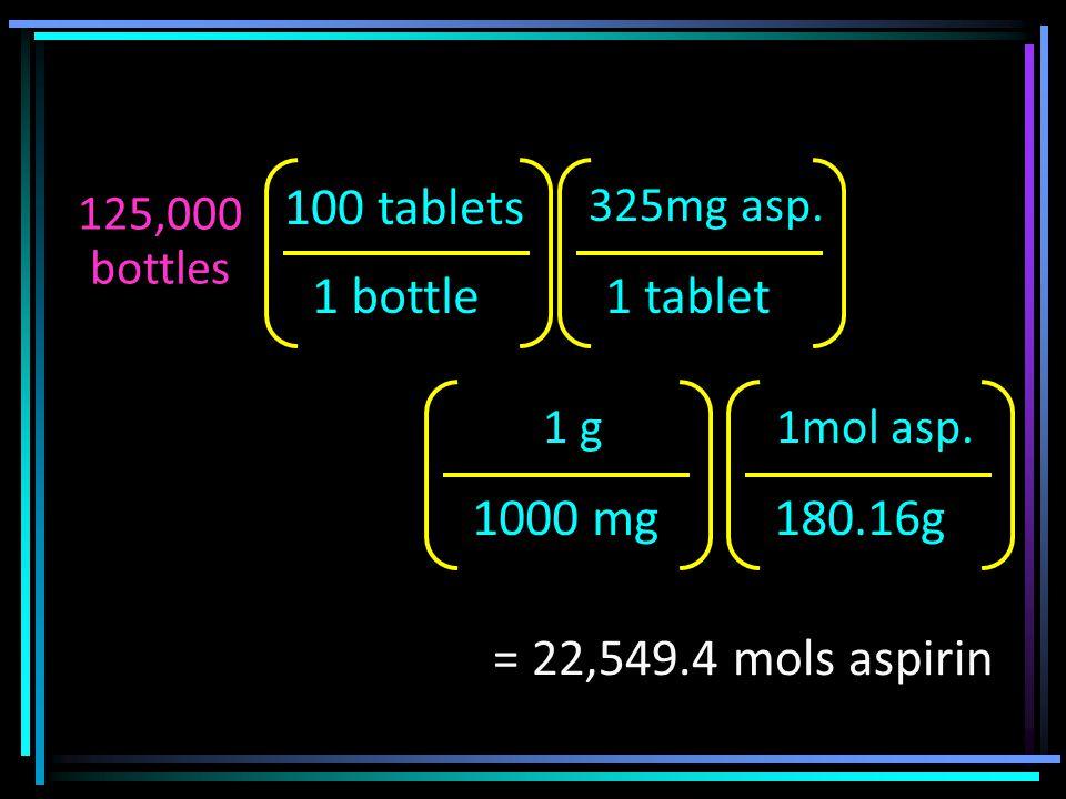 125,000 bottles 1 bottle 100 tablets 1 tablet 325mg asp.
